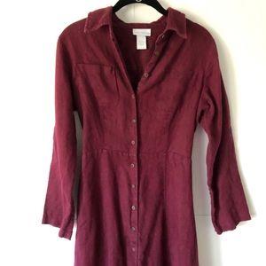 Soft Surroundings | Burgundy Linen Maxi Shirtdress